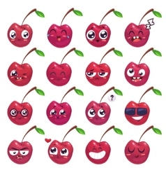 Smiles set of fruit characters cute vector image vector image