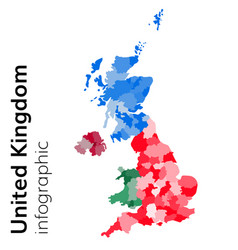 united kingdom map divided on regions vector image vector image