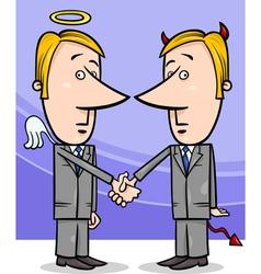 angel and devil businessmen cartoon vector image vector image