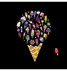 Big icecream sketch for your design vector image vector image