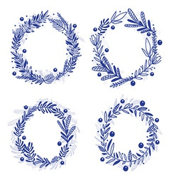blue wreath with any plants vector image