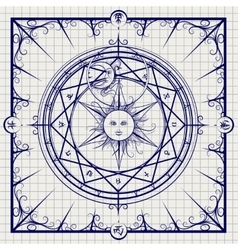 Alchemy magic circle on notebook background vector image vector image