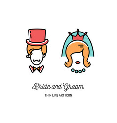 bride groom icons wedding couple signs valentine vector image vector image