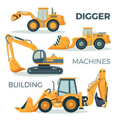 digger and machines for building isolated cartoon vector image vector image