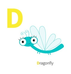 Letter d dragonfly zoo alphabet insect english abc vector