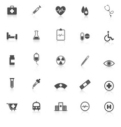 Medical icons with reflect on white background vector image vector image