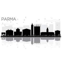 parma city skyline black and white silhouette vector image vector image
