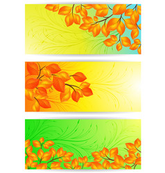 banners with yellow leaves vector image