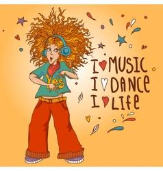 Beautiful Young Redhead Girl in headphones vector image