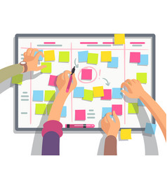 developers team planning weekly schedule tasks on vector image vector image