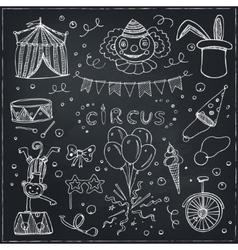 Hand drawn sketch circus icons vector image