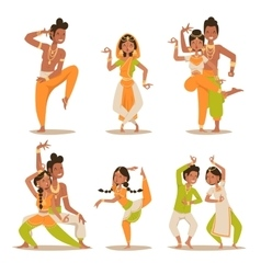 Indian women and man dancing isolated vector image vector image