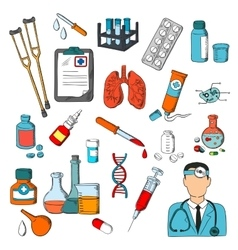Medical tools and treatment icons vector