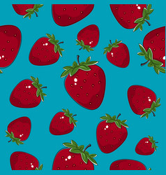 seamless pattern strawberry on azure background vector image vector image