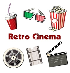 Set of colored Retro Cinema icons vector image vector image