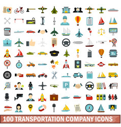 100 transportation company icons set flat style vector image