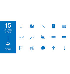 15 field icons vector