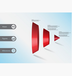 3d infographic template with triangle cone vector image