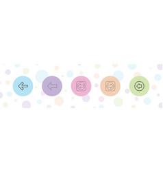 5 previous icons vector