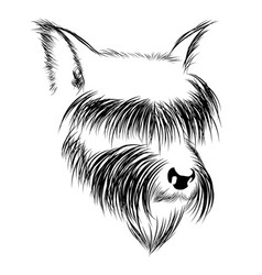 abstract graphic head of a dog in black and white vector image