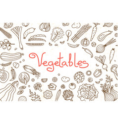 background with various vegetables and an vector image