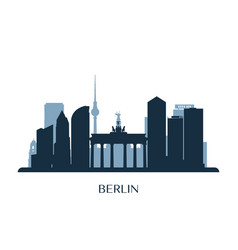 Berlin skyline monochrome silhouette vector