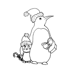Black mono color with penguins vector image