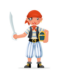 boy pirate child costume masquerade teen party vector image
