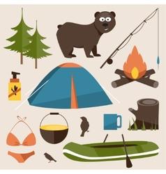 Camping set Flat vector