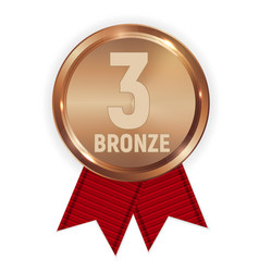 champion bronze medal with red ribbon icon sign vector image