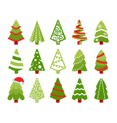 christmas trees color flat vector image