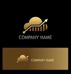 cloud arrow technology gold logo vector image