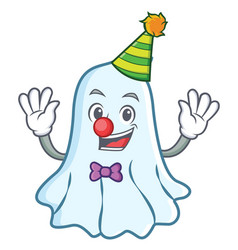 Clown cute ghost character cartoon vector