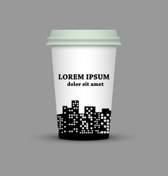 Coffee cup with city vector