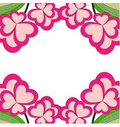 colorful heart flower plant border frame close up vector image