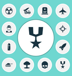 Combat icons set with fighter nuclear explosion vector