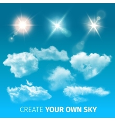 Create Sky Realistic Clouds Icon Set vector