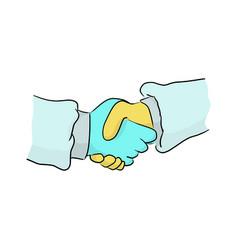 doctors handshake as partnership or teamwork vector image