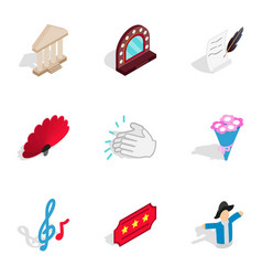 dramatic art icons isometric 3d style vector image