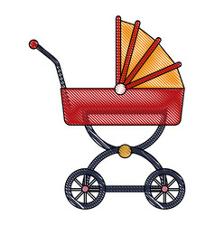 Drawing baby carriage wheel decoration vector