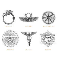 drawn sketches mystical symbols set vector image