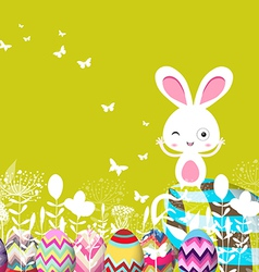 Easter eggs floral with bunny vector