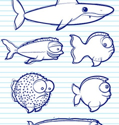 fish drawn vector image