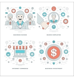 Flat line Search Employee Internet Commerce vector image