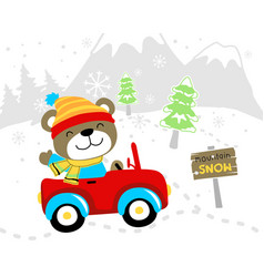 Funny bear cartoon in car at winter vector