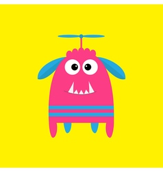 Funny monster with fang tooth and horns Cute vector