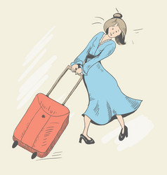 girl and baggage vector image