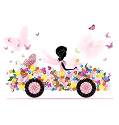 girl on a romantic flower car vector image