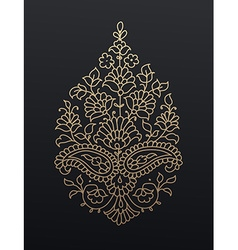 Golden floral paisley ornament vector