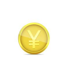 Golden yen coin vector